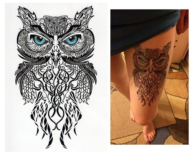 tempor re tattoos temporary tattoo fake tattoo eule blau. Black Bedroom Furniture Sets. Home Design Ideas